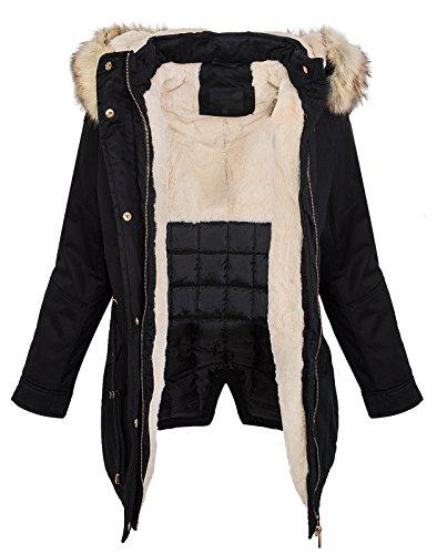 Rock Creek Damen Winterjacke Mantel Damenmantel Winter Jacken Parka Damenjacke Kapuze Kunstfellkragen Weiß Gefüttert Warm D-240 Schwarz L