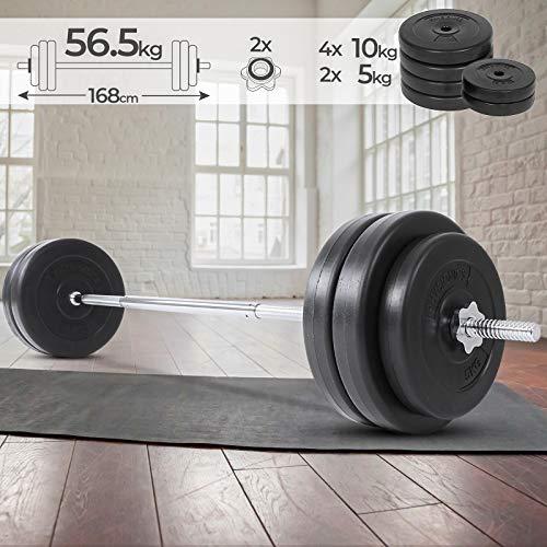 Physionics - Barra de musculación - Barra larga / Barra de pesas con discos - 2 discos de 5 kg y 4 discos de 10 kg
