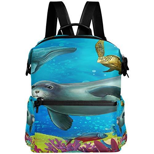 Oarencol mochila de tortuga de león marina colorida mochila escolar bolsa de viaje senderismo camping portátil mochila