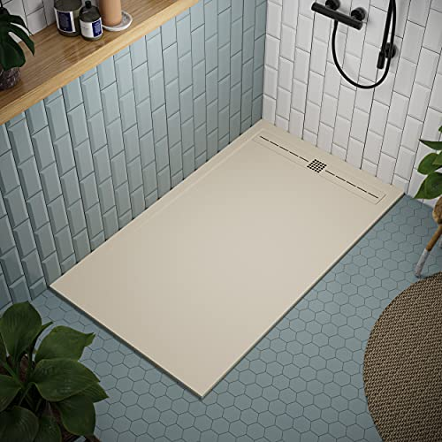 Shower Tray 700 x 1700 Stone Resin Tiber - Anti Slip and Low Profile - Matte Finish and Smooth Texture - All Sizes Available - Shower Waste and Painted Grid Included - Cream RAL 1015