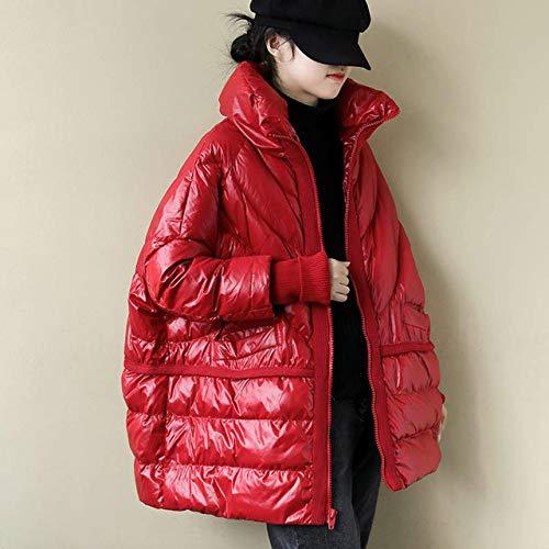 SJIUH Chaqueta de plumón, invierno chaqueta de mujer brillante pan suelto collar de pie femenino abajo parkas 90% pato blanco abajo abrigo oversize impermeable, rojo, M