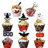 Kalolary Halloween Decoración de Cupcakes, 48 Piezas Halloween Toppers y Wrapper de Cupcakes, Adorno de Cupcakes para Fiesta de Halloween, Horneado de Cupcakes en la Cocina