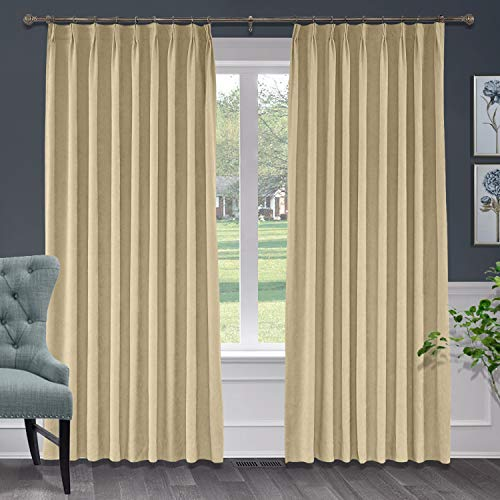 Macochico 50W x 63L Inches Pinch Pleated Curtains with Blackout Lining Thermal Insulated Polyester Cotton Drapery Panel for Bedroom Windows Living Room Sliding Door,Burly Wood (1 Panel)
