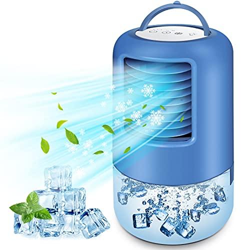 BILIFIT Aire Acondicionado Portátil, 4 en 1 Mini Enfriador de Aire, Ventilador, Humidificador, 3 Velocidades, 2/4h Temporizador, 7 Colores LED, Climatizador Evaporativo Portátil para Hogar Ofi
