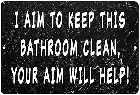 Rogue River Tactical Funny Bathroom Sign Metal Tin Sign Wall Decor Man Cave Bar Aim product image