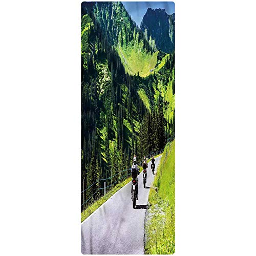 Mountain Runner Rug, 2'x5', Bike Riders on Mountain Kitchen Rugs Non Skid Area Floor Mat for Hallway Entry Way Floor Carpet