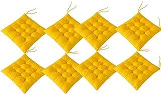 AIITLLYNA Cojín Decorativo de Asiento para Silla de Jardín,Set de 8 Cojines,Cojines para Silla de 40 x 40 cm,para Terraza Exterior, Cocina o Comedor (Amarillo)