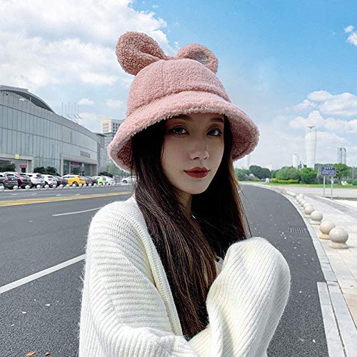 Sombrero mujeres linda y delgada peluche pequeo cola orejas pescador sombrero femenino estudiantes otoo e invierno japons color slido grueso cuenco cuenco sombrero conjunto accesorios regalo kyman