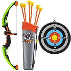 small The children's GoBro Brand bow and arrow – an archery toy set with green lights – includes 6 suction cups …