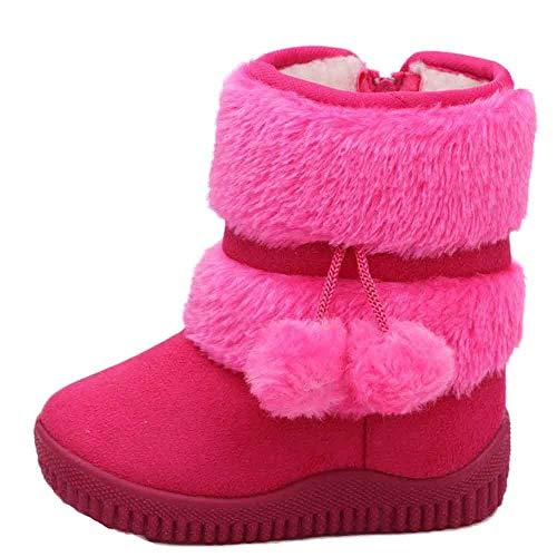 Zapatos Niño Invierno Niña Botas,JiaMeng Algodón Moda Invierno Bebé Estilo Infantil Botas de algodón Botas cálidas para la Nieve(Rosa Caliente,18-24M)