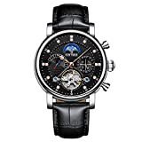 SQSMCW KINYUED Automatic Mechanical Watches Fashion Hollow Diamond Leather High-end Men's Watches The Stars 01 SQSMCW (Color : 3, Size : 42mm)