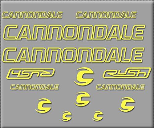 Ecoshirt GY-RPQJ-7620 Aufkleber Cannondale Rush R308 Sticker, selbstklebend, Gelb