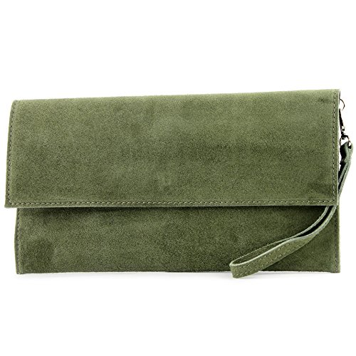 modamoda de - T151/M151 - ital. Clutch Wildleder/Leder Metallic, Farbe:Olivgrün
