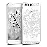 kwmobile Huawei Honor 8 / Honor 8 Premium Hülle - Handyhülle für Huawei Honor 8 / Honor 8 Premium - Handy Case in Aztec Blume Design Weiß Transparent