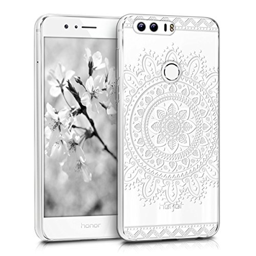 kwmobile TPU Silicone Case for Huawei Honor 8 / Honor 8 Premium - Crystal Clear Smartphone Back Case Protective Cover - Aztec Flower White/Transparent