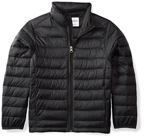 Amazon Essentials Kids Boys Light-Weight Water-Resistant Packable Puffer Jackets Coats, Black, X-Large
