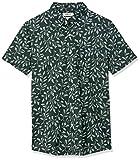 Goodthreads Slim-Fit Short-Sleeve Printed Poplin Shirt Button-Down-Shirts, Hiedra Vintage, Medium