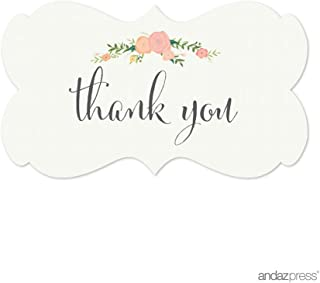 Andaz Press Fancy Frame Rectangular Label Stickers, Thank You, Floral Roses, 36-Pack