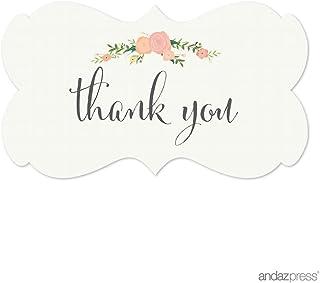 ملصقات ملصقات ملصقات بعلامة مستطيلة الشكل فاخرة من آنداز بريس، شكرًا لك، زهور وردية، عبوة من 36 قطعة