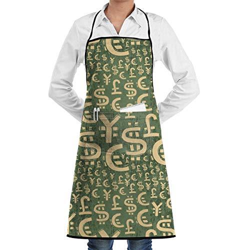 NA Novedad Delantal de Chef de Cocina con símbolos de Moneda Mundial con Bolsillos Grandes - Delantal de Chef para cocinar, Hornear, Hacer Manualidades, jardinería y Barbacoa