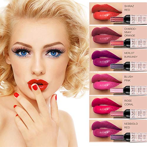 6 Shades Set Wine Bottle Lip gloss Tint Water Proof Lipstick Tint, Long Lasting Kiss proof, Non-stick Cup Lipstick Gloss