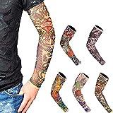 Mein HERZ 5 Pezzi Maniche Tatuaggio, Tattoo Sleeve - (46×11×7cm) Temporaneo Nylon Elastiche Realistico Tattoo Finti - Sportiva Protezione, Ciclismo,Ventilazione di Protezione Solare (Unisex)