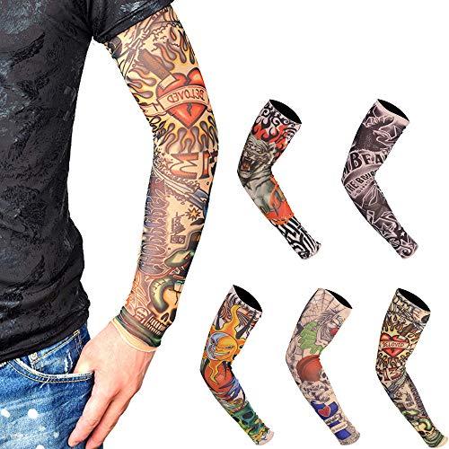 5 Pcs Mangas Tatuajes, (46×11×7cm)Mangas Tatuajes Falsos,Moda Nylon Mangas del Brazo Calentadores de Brazo Deportivo Transpirable Suave y de Secado rápido Bloque Solar Sleevelet Brazo elástico Cubre