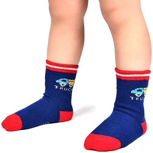 Wobon 12 Pairs Toddler Boy Non Skid Socks Cute Cotton with Grips, Baby Boys Anti-skid Socks , 1-3 Years, 12 Pairs Plane & Car