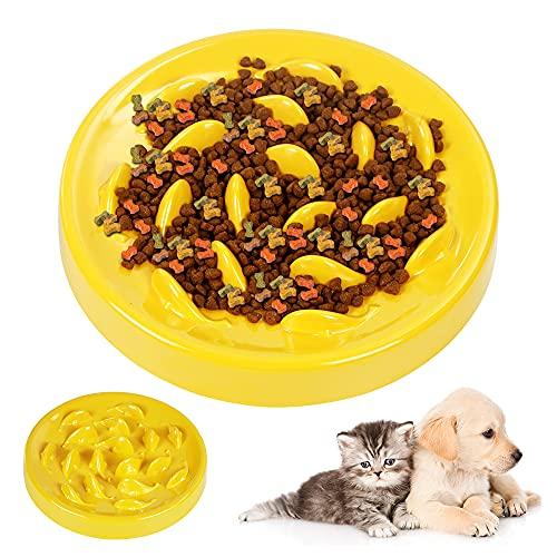 Zaloife Langsam Fressen Schüssel, lnteraktiver Slow Feeder Futternapf, Langsame Fütterung Hundenapf, Anti Schling Napf Hund, Slow Feeder für Hunde und Katzen(Gelb)