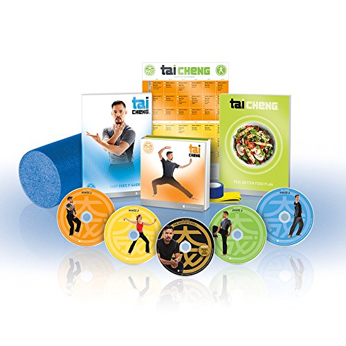 Beachbody Tai Cheng DVD Workout - Base Kit, Tai Chi Exercise Videos, Martial Arts Strength Training Guide, Includes Nutrition Food Plan, Foam Roller, Resistance Band