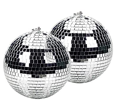 Twin Pack 10cm Glass Silver Refective Mirror Balls
