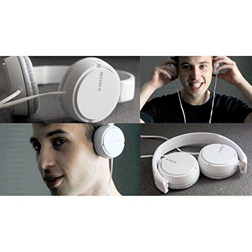 Sony mdrzx110ap ZX Serie extra Bass Smartphone Headset mit Mikrofon (weiß) + 3,5mm Mini Stecker zu 1/10,2cm Kopfhörer-Adapter & HeroFiber Ultra Sanfte Reinigungstuch