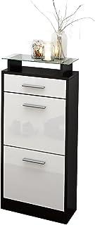 Gabinete para Zapatos Loret V2, cuerpo en negro mate / Frente en blanco de alto brillo