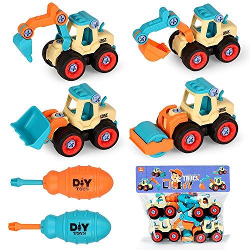 Excavadora Juguete Camiones de Juguete, Camión Grua de Juguete,4 en 1 Montar y Desmontar Vehículo de Construcciones Juguete Excavadora, Juguete para Niños, Cumpleaño Regalos educativos para Niños