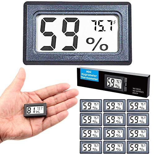 Goabroa (12-Pack) Mini Hygrometer Thermometer, Digital Indoor Humidity Gauge Monitor with Temperature Meter Sensor Fahrenheit (℉) 12 Pack
