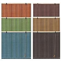 ブラインド ロールアップすだれ、バンブーカーテン 間仕切り、遮光ローラーブラインド、目隠しシート、木の色/緑/青/オレンジ、中庭・バルコニー・屋内装飾に最適、簡単設置