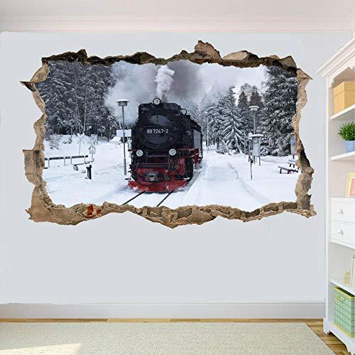 MXLYR Pegatinas de pared Escena de nieve Locomotora de vapor Etiqueta de la pared Arte 3D Póster Calcomanía Mural Decoración