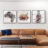 XHSM Graffiti Burger Game Controller Street Art Pintura de moda pared decoración del hogar 50 x 50 cm x 3 sin marco