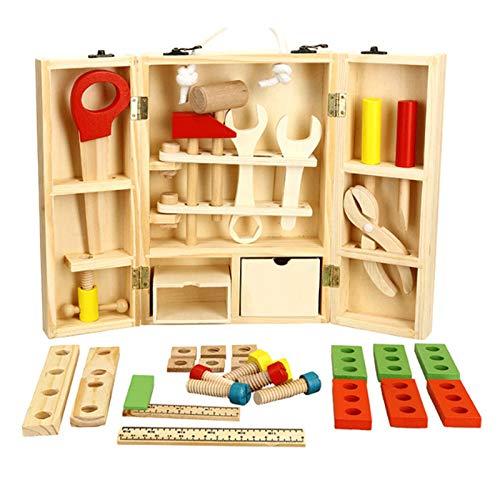 Juego de herramientas artesanales de madera para niños, juguetes educativos para niños, herramienta de construcción de bricolaje, juego de caja de herramientas de simulación portátil de carpintero