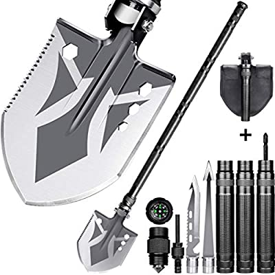 Folding Shovel, BANORES Camping Shovel Lengthened Handle and Larger Thicker Shovelhead Survival Shovel Multitool with Storage Pouch for Camping, Hiking, Backpacking, Fishing, Emergency