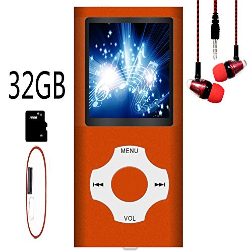 Hotechs MP3-Player/MP4-Player, MP3-Player mit 32 GB Speicherkarte, schlankes Design, digitales LCD-Display, 4,6 cm (1,8 Zoll) Display, FM-Radio