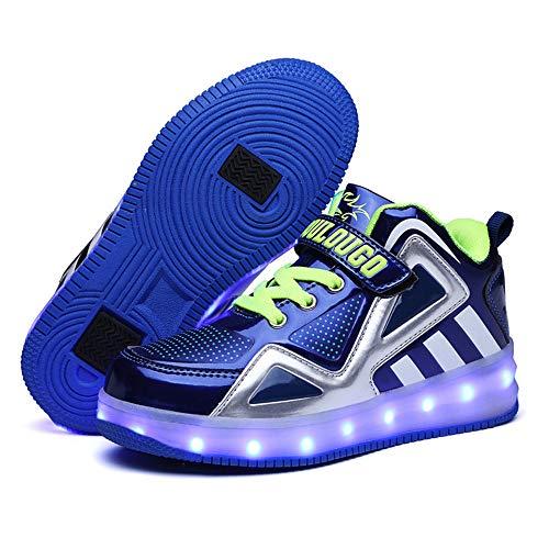 ZJDU New Inline Skates, Detachable Four-Wheel LED Rechargeable Skates,Adult Fitness Premium Inline Skate,Blue,35