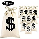Frienda 10 Pack Drawstring Money Bag Canvas Money Bag Pouch with Dollar Sign for Bank Robber Cowboy Cosplay Theme Party Favor Gift Bag