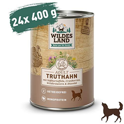 Wildes Land | Truthahn | 24 x 400 g | Mit Süßkartoffel, Cranberries, Distelöl und Wildkräutern | Nassfutter für Hunde | Hoher Fleischanteil | Monoprotein | Getreidefreies Hundefutter