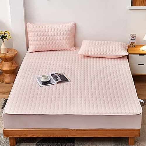 HAIBA Protector de colchón con borde de ajuste, también adecuado para camas con somier y camas de agua, microfibra, 100% poliéster, 001 rosa, 150 x 190 cm + 15 cm