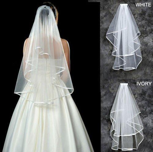 Racksoy Kathedrale Hochzeit Brautschleier Satinkante mit Kamm, Ellenbogen-Länge Schleier (Weiß)