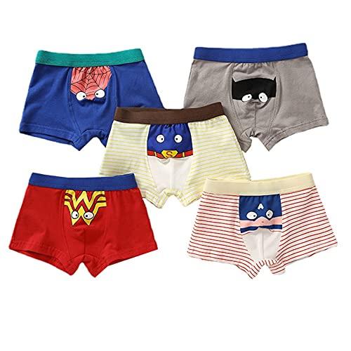 Jungen Boxer Slips,Baumwolle Unterhose,Cartoon Briefs Kinder Unterwäsche Kinder Shorts 5er-Pack 2-16 Jahre (A,M-2-3 Years)