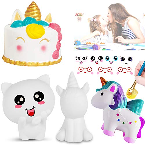 Paint Your Own Squishy Sensory Toys, 4 DIY Squishy Slow Rising Relieves Stress and Anxiety Fidget Toy for Children Adults, 3D Blank Arts& Crafts Squishies DIY Dessert & Animal Squishy Painting Toys