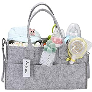 Hinwo Baby Diaper Caddy 3-Compartment Mommy Infant Nursery Nappy Storage Bin Portable Car Organizer Newborn Shower Basket with Detachable Divider and 10 Invisible Pockets 18 x 25 x 37cm(Felt)