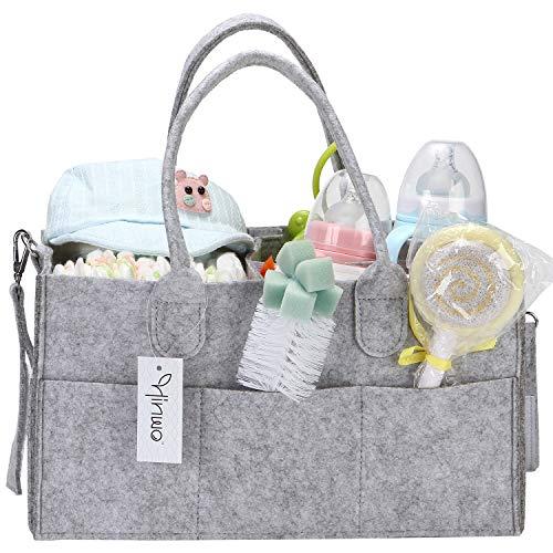 Hinwo Baby Diaper Caddy 3-compartimientos Mommy Infant Nursery Pañal Bin Storage Organizador portátil para automóvil Recién nacido Ducha Gift Basket con divisor desmontable y 10 bolsillos invisibles